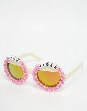 Rad + Refined – Good Vibes – Runde Sonnenbrille mit verspiegelten Gläsern