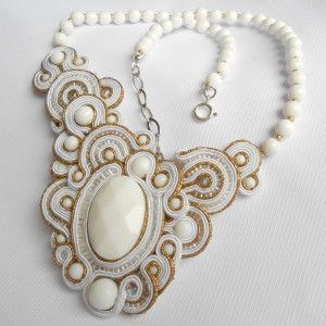 """Soutache necklace """"Ancient Rome"""" with white agate"""