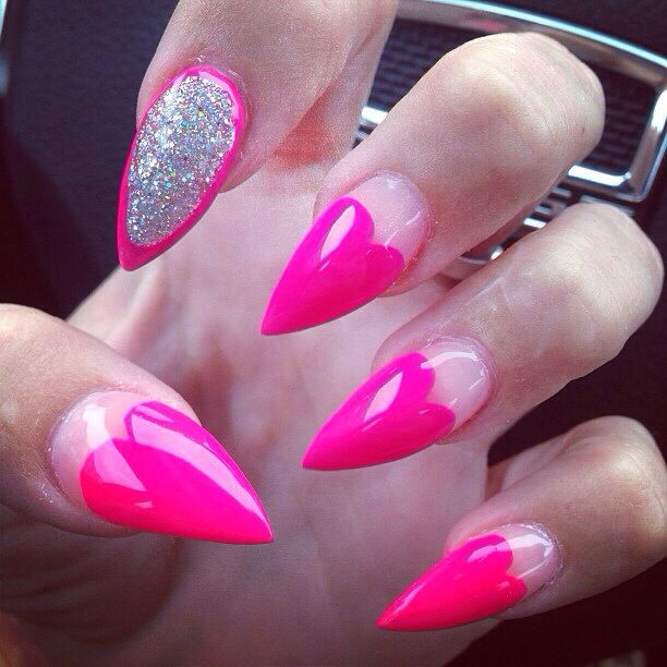 Stilleto Nail Ideas For Prom: So Pretty. Hot Pink Claw Nails With Sparkles And Hearts
