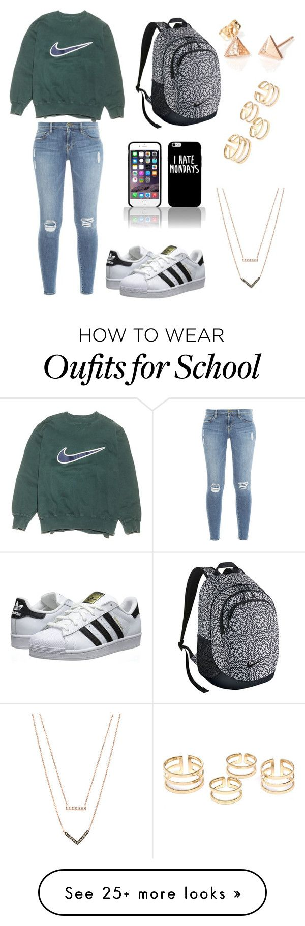"""""""Casual school days"""" by chloebecker on Polyvore featuring NIKE, Frame Denim, adidas Originals and Michael Kors"""