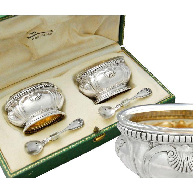 Wonderful antique 19th century French Belle Epoque era sterling silver complete set of silver gilt or vermeil open salt cellars with their original