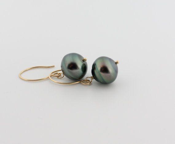 Tahitian pearl earrings saltwater 13mm large by SimplyAdorned4U