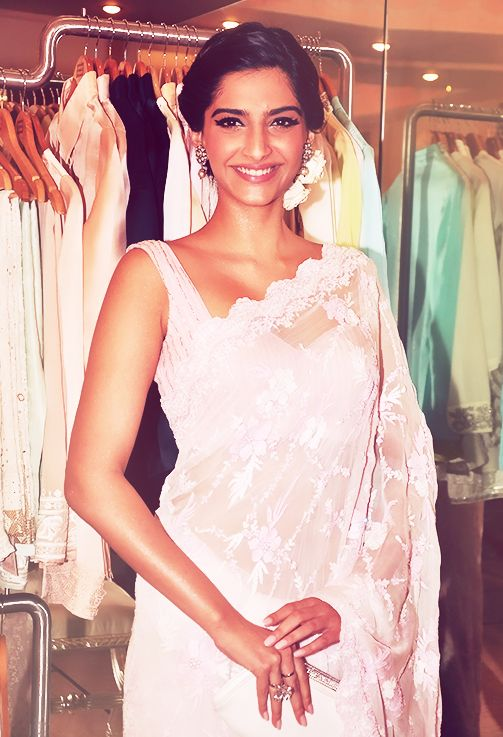 Sonam Kapoor in a pretty lace sari by Shehla Khan