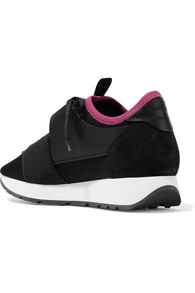 Balenciaga - Race Runner Leather, Mesh And Neoprene Sneakers - Black - IT40