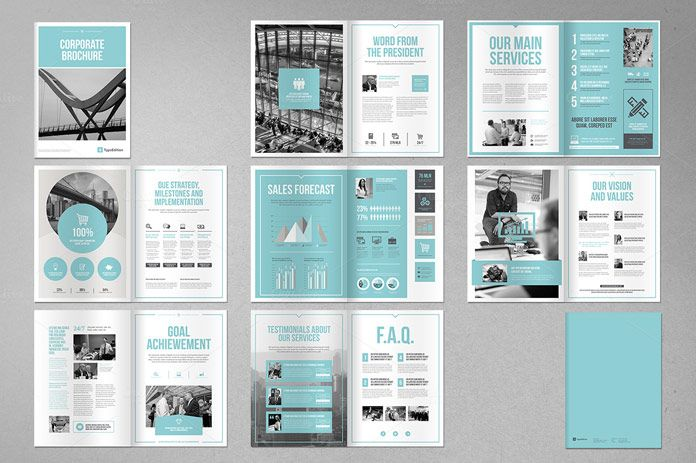 Check out this clean and modern corporate brochure template for Adobe InDesign. The team of Typo Editions is well known for the development of useful templ