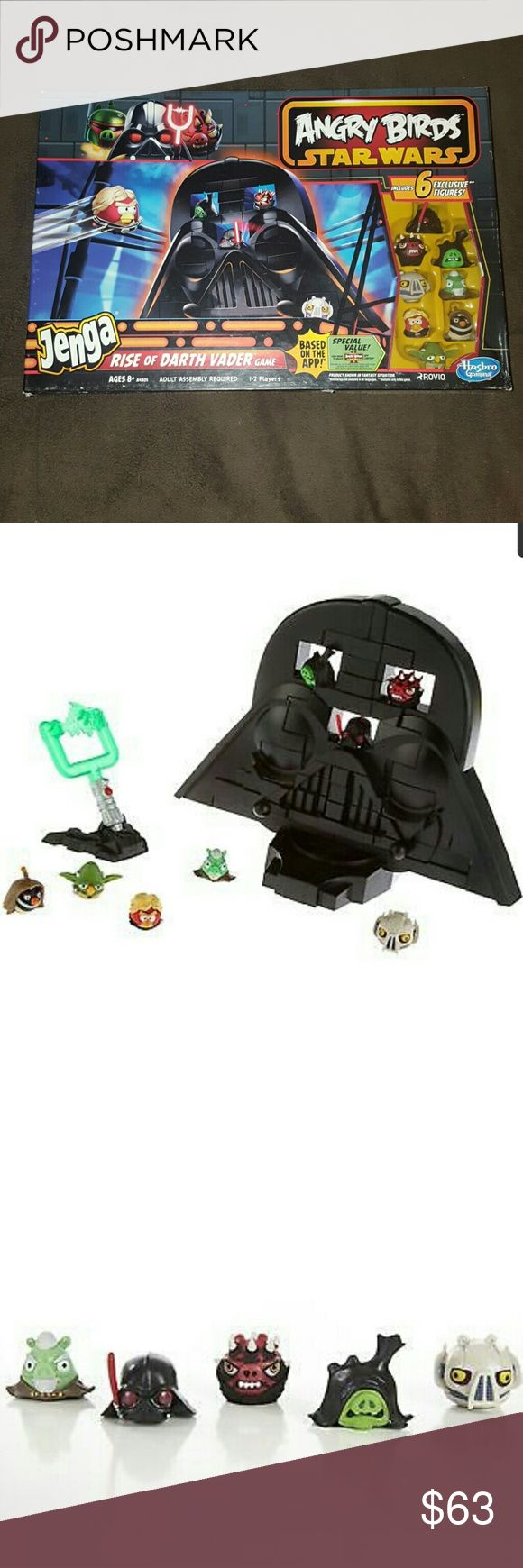 Angry Birds Star Wars Jenga Game Angry Birds Star Wars Jenga Rise of Darth Vader Game  ?LIMITED EDITION?  Features: Launch high-flying birds at your Jenga stack of blocks and pig figures in the Rise of Darth Vader game The one who knocks the most pigs off wins The Lightsaber launcher fires bird figures 6 of the included figures are exclusive to this game Includes Obi-Wan Kenobi, Luke Skywalker and Yoda bird figures and Darth Vader, General Grievous, Darth Maul, Count Dooku and Emperor…