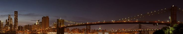 John Cunniff. Statue of Liberty, Manhattan, Brooklyn Bridge, Empire State Building, Chrysler Building, and Manhattan Bridge, 180 degree panorama, Blue hour [Explored]