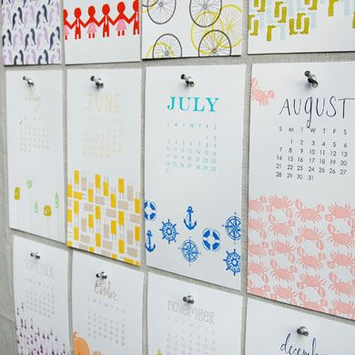 As a calendar obsessed and busy woman, I like the idea of using chic calendar pages as art for an office wall.