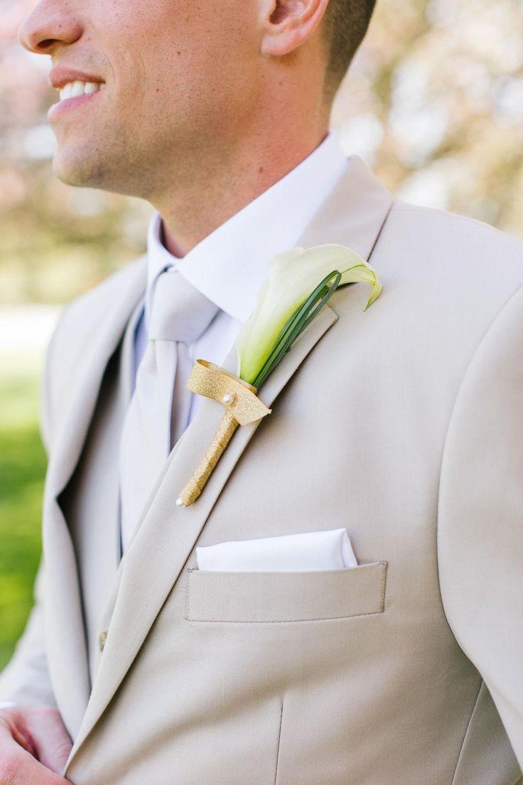 Gold ribbon, white calla lily, khaki groom's suit // 604 Studios
