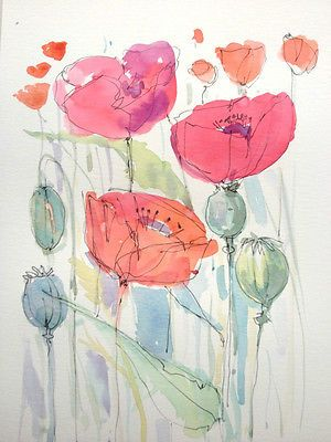 Original Water Colour Painting 'Poppies'. Signed.