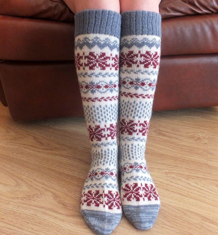 Long Wool Socks with Scandinavian patterns. Legs warmer. от Junman