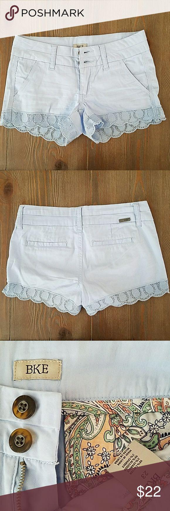 "BKE twill lace hem shorts Adorable sky blue BKE lace hem twill shorts.  Double button closure and flat back pockets. 3"" length.  Worn once. BKE Shorts Jean Shorts"