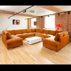 Extra Large Unique Sofa Set Corner Group C Shape Orange 4.0x4.0m New Part 95