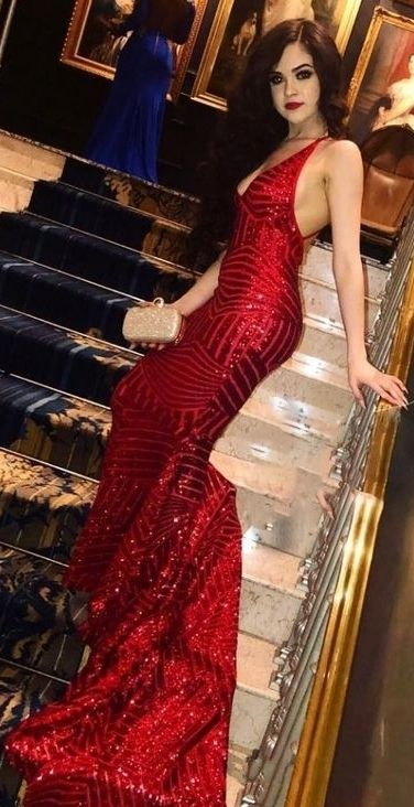 3038ae4171c Shiny Red V-neck Mermaid Prom Dresses Sequins Sleeveless Long Evening Gowns