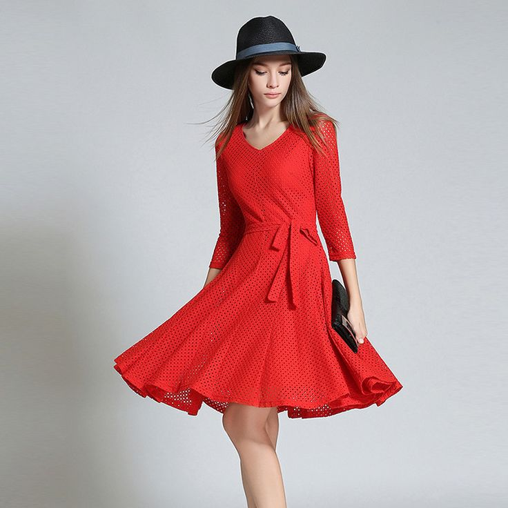 high Waist solid color lace dresses women new European 3 quaters sleeve v-neck big swing women's dresses autumn ukraine