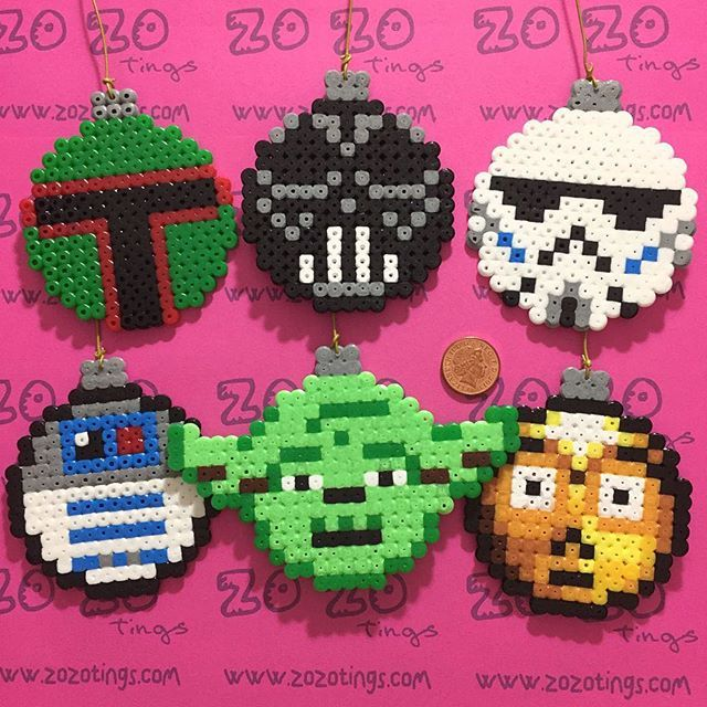 Star Wars Christmas baubles hama perler beads by zozotings