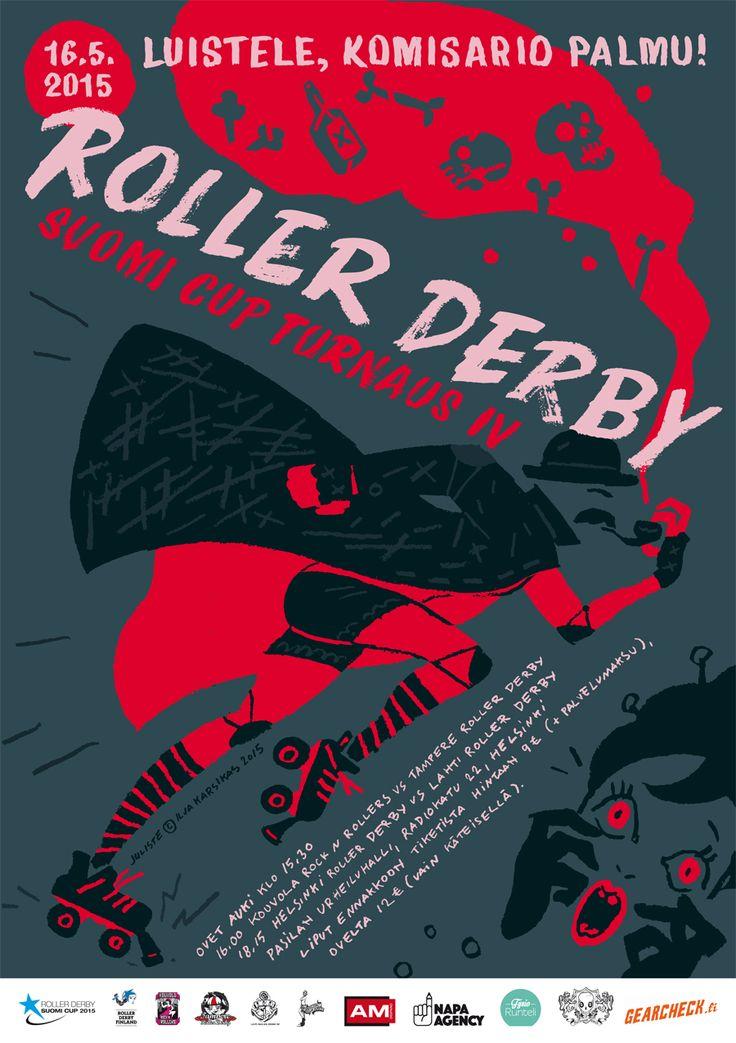 Helsinki Roller Derby poster by Ilja Karsikas