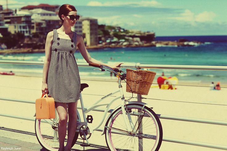 60's Summer | Photographer: Kayleigh June - http://kayleighjune.deviantart.com/art/60s-Summer-283185414: Photos, Beaches, Bicycles, Fashion, Bike, Style, Dress, 60S Summer, Photography