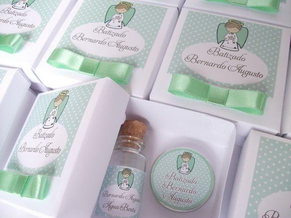 Kit para lembrança de batizado verde | Sweet Personalizações | Elo7