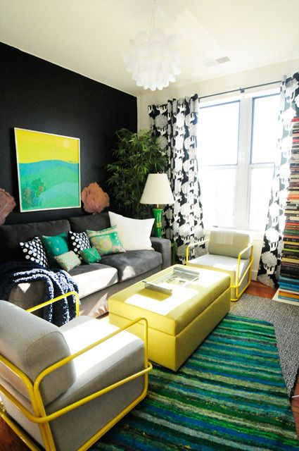 Apartment living room - love the colors. This would be good if we don't have a big living room :)