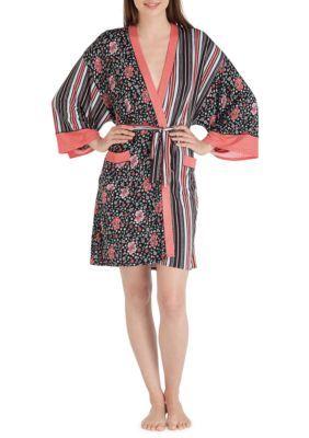 Layla Women's Kimono Robe - Black Print - L/Xl