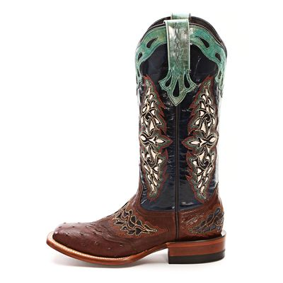 Lucchese Brown Full Quill Ostrich Cowgirl Boots M5802 SIE/BLU - PFI Western Store... better pic!!