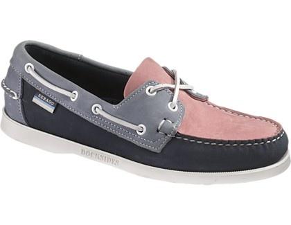 Pink and navy Sebago boat shoes.