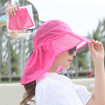 Women Summer Foldable Thin Breathable Wide Brim Beach Hat Outdoor Sport Sunscreen Visor Cap