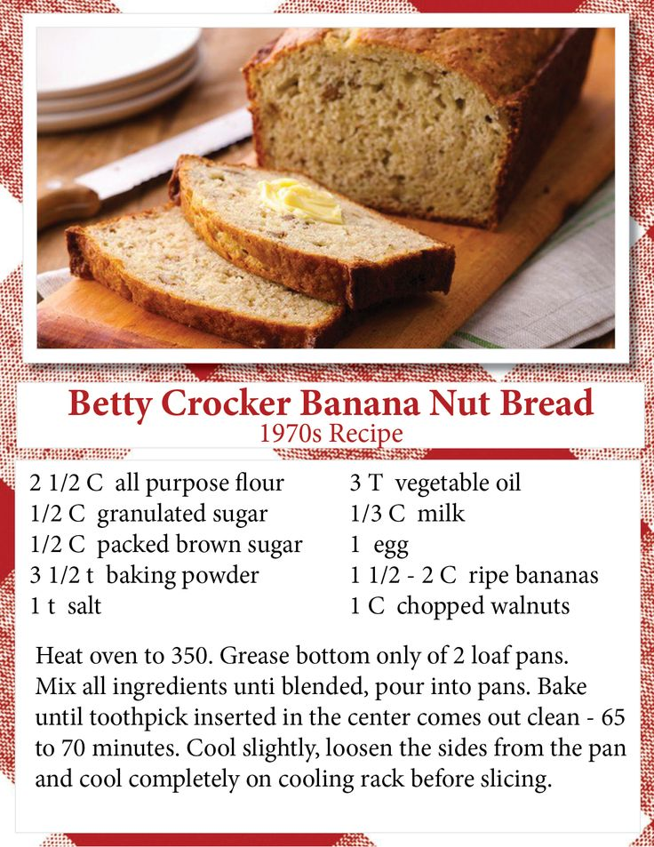 Betty Crocker Banana Nut Bread 1970 recipe book.  I've seen a lot of people searching for this hard to find recipe. Here it is.