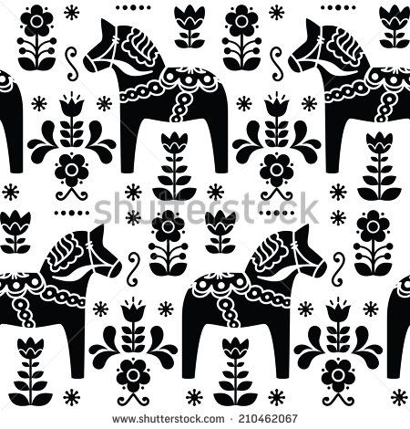 Swedish folk art Dala or Daleclarian horse seamless pattern in black - stock vector