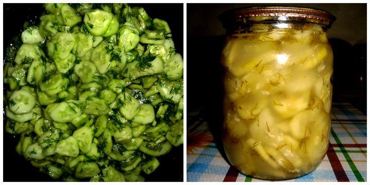 Рекомендую всем приготовить очень вкусный салат из огурцов с зеленью и чесноком на зиму. Ингредиенты: — 4 кг огурцов; — 2 пучка зелени; — 2 головки чеснока; — 1 стакан сахара; — 1 стакан уксуса; — 1 стакан растительного масла; — 2 ст. ложки с горкой соли. Приготовление: Огурцы порезать кружечками, добавить измельченный чеснок, мелко ...