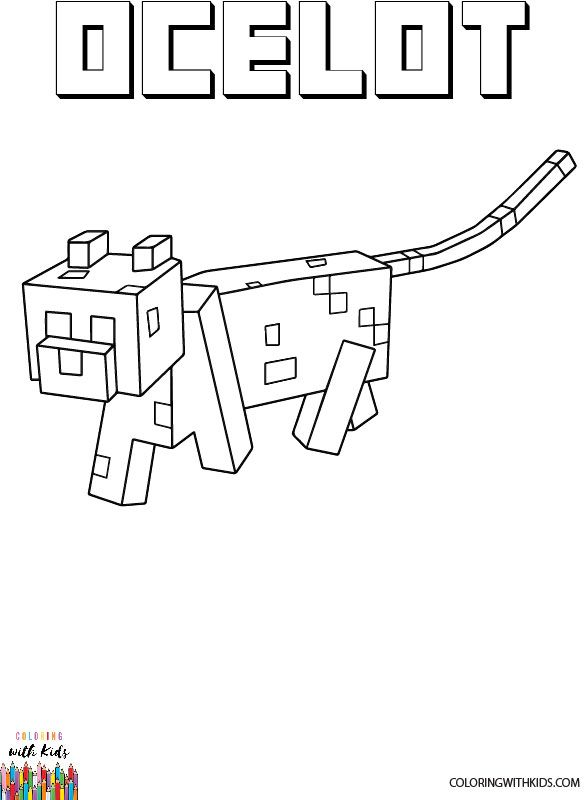 Minecraft Ocelot Coloring Page Author Painter Adapted From Minecraft Ocelot Permission Minecraft Coloring Pages Coloring Pages Kids Coloring Books