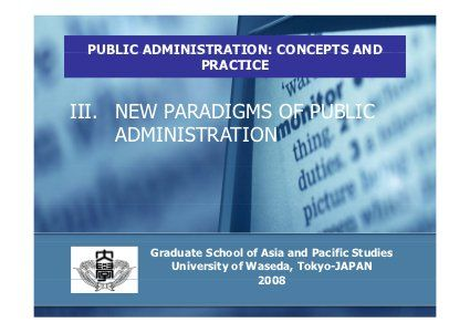 NEW PARADIGMS OF PUBLIC ADMINISTRATION