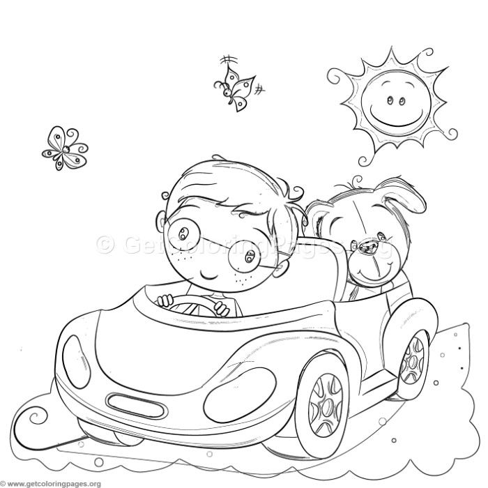 Free Download Boy And Dog Driving Coloring Pages Coloring Coloringbook Coloringpages Cars Coloring Pages Animal Coloring Pages Coloring Books
