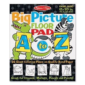 "NEW! Big Picture Floor Pad A To Z - This jumbo colouring pad features familiar animals and objects for every letter of the alphabet, plus big letters and simple words to trace and colour. Great for crayons, markers, pencils and paints. A fun way to build fine motor skills, letter recognition, pre-literacy skills and creative expression. Easel-style book, 26 pages. (20""L x 17""W) (Product Number MD9109) $7.98 CAD"