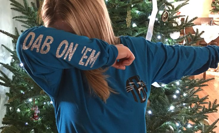 Personalized Carolina Panthers shirt, monogram, dab on 'em sleeve, glitter vinyl heat transfer, Panther nation, keep pounding, dabb, Cam Newton, TOUCHDOWN!!