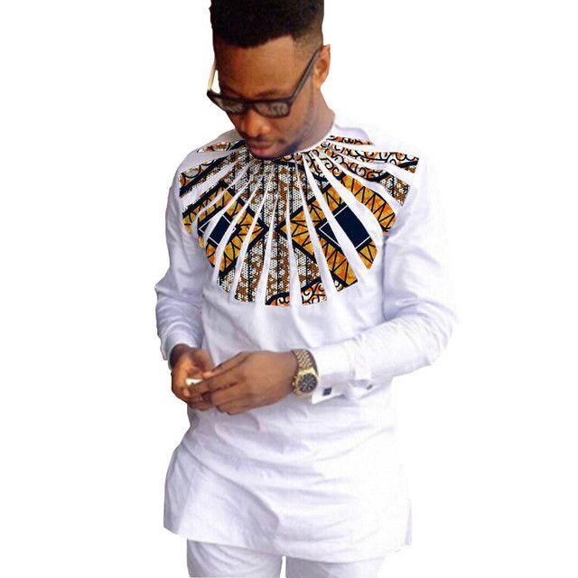 African Shirts For Men Patchwork O-Neck White Dashiki Kitenge Shirts African Clothing