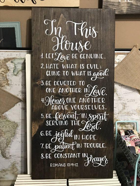Bijbel vers  huisregels familie regels 12 x door HandletteredTruth