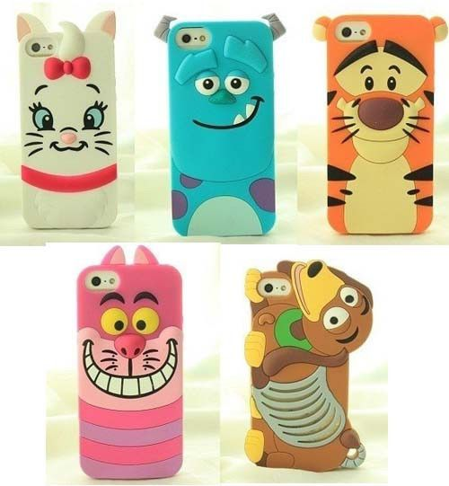 New 3D cute Animal cartoon soft silicon case for Iphone 4 4g 4s back case 5 5S