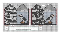 This pattern is the colour chart only. The mittens are a puffin scene for the back of the hand and a caplin (fish) pattern for the palms. Thumb position has not been strictly set so as to allow for modifications by the knitter. An after-thought type of thumb is intended rather than a thumb gusset.