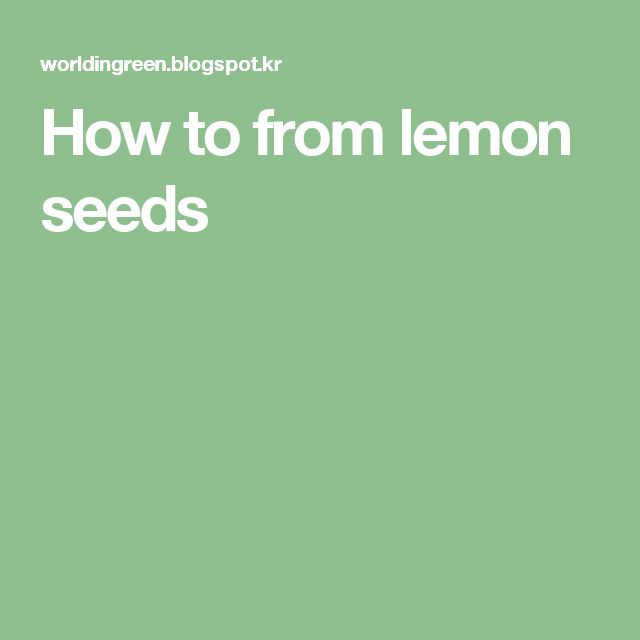 How to from lemon seeds