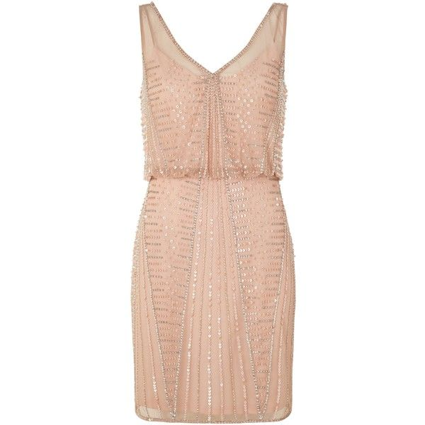 Adrianna Papell Short Beaded Cocktail Dress, Petal ($330) ❤ liked on Polyvore featuring dresses, maxi cocktail dress, pink maxi dress, sparkly cocktail dresses, vintage style cocktail dresses and midi cocktail dress