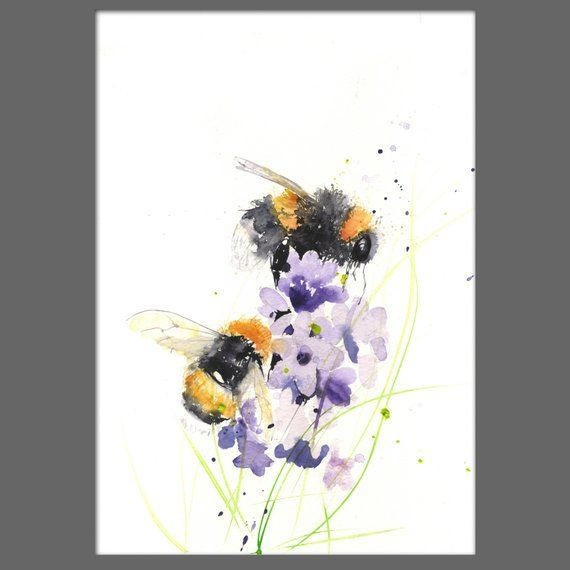 limited edition print of my BUMBLE BEES 19 archival quality. hand signed, illustration, animal art