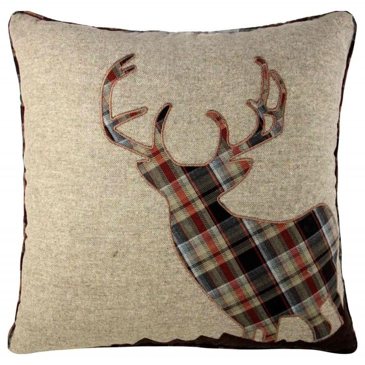 """Stag Wool Blend Cushion Cover 18""""x18"""" Coffee Natural"""