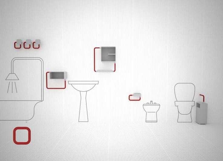 """Per """"O"""" ho osservato il bagno, ceramica e tubi sono gli elementi che mi sono saltati all' occhio e gli stessi che ho usato per sviluppare una collezione completa o quasi di contenitori e accessori. La maggior parte dei pezzi che lo compongono possono essere sfruttati anche in altri ambienti della casa."""