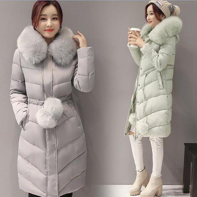 2016 mulheres de grande gola de pele seções longas Slim Down jaqueta acolchoada climatização inverno feminino da cintura revestimento das senhoras com bola de pêlo