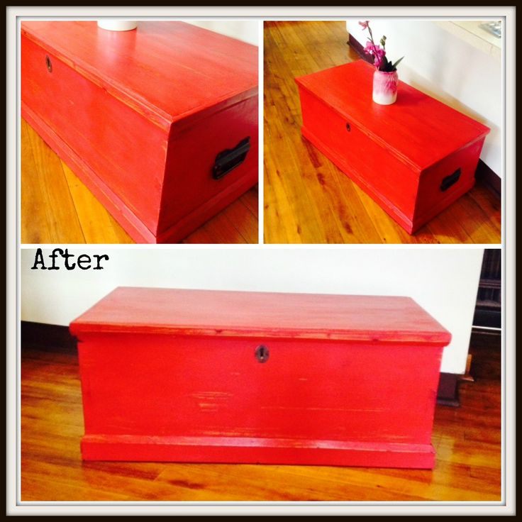 Little Red Kist AFTER. Lightly Distressed with the gorgeous red Annie Sloan Chalk Paint.