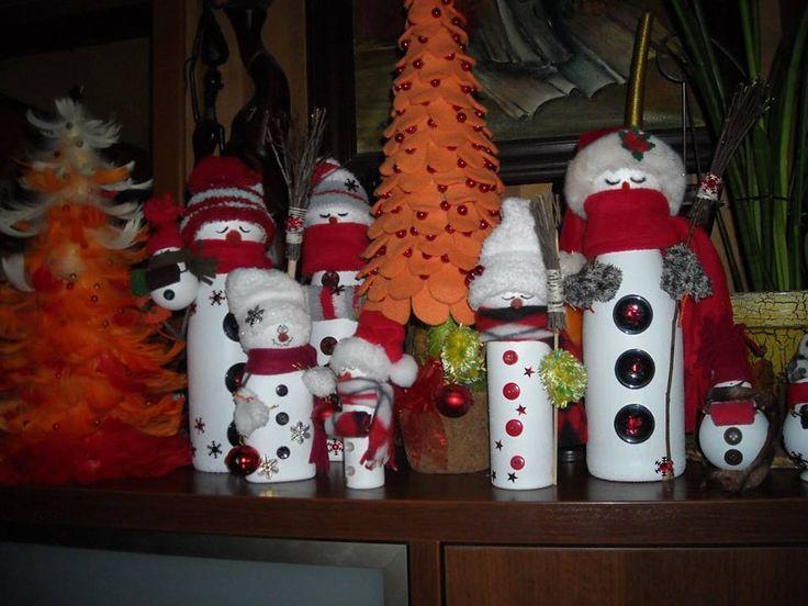 świątecznie ...butelkowe bałwany