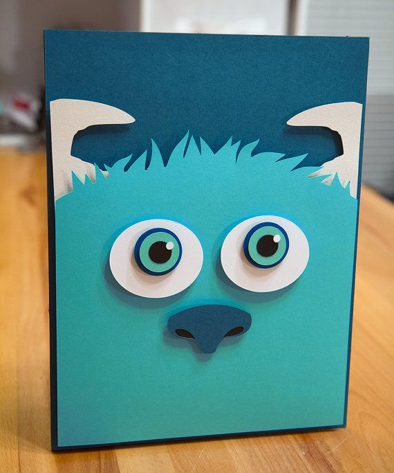 Sully Monsters Inc handcut 3D paper cut  SIZE: 8x11  **Items are made to order.  Paper crafts are made from acid-free paper (various colors, weights and