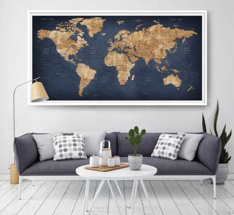 World Map Push Pin, Large World Map, Abstract World Map, Travel Gift, Part 74